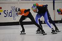 SCHAATSEN: HEERENVEEN: 31-01-2014, IJsstadion Thialf, Training Topsport, Daan Breeuwsma, Vladislav Bykanov (ISR), ©foto Martin de Jong