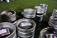 A general view of Bath Ales beer drums. Aviva Premiership match, between Bath Rugby and Gloucester Rugby on February 5, 2016 at the Recreation Ground in Bath, England. Photo by: Patrick Khachfe / Onside Images