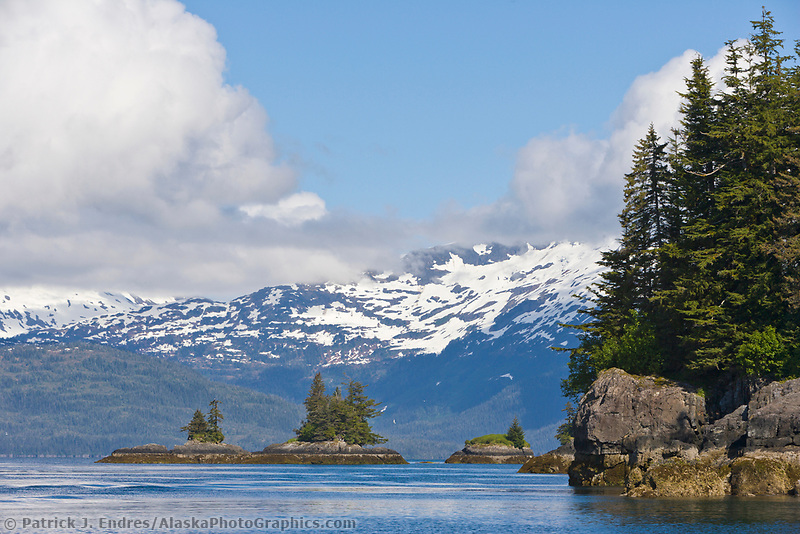 Coastal landscape, Northern Prince William Sound, Chugach mountain range.