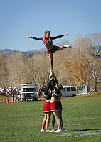 Western Cheerleaders perform their routine as they cheer on the Mountaineer football team.