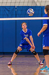 26 October 2014: Yeshiva University Maccabee Middle Blocker Shana Wolfstein, a Senior from Burlington,VT, in action against the College of Mount Saint Vincent Dolphins, in Riverdale, NY. The Dolphins defeated the Maccabees 3-0 in the NCAA Division III Women's Volleyball Skyline matchup. Mandatory Credit: Ed Wolfstein Photo *** RAW (NEF) Image File Available ***