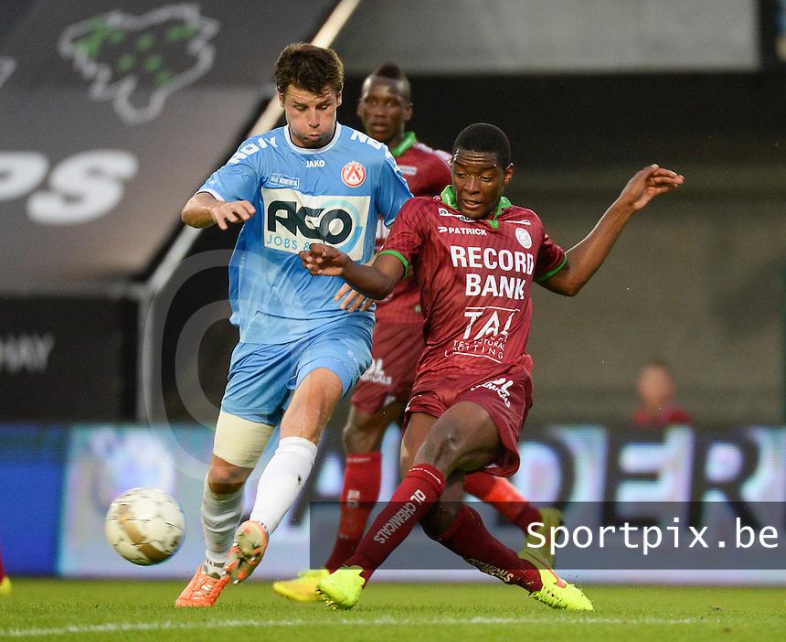 SV Zulte Waregem  - KV Kortrijk  : duel tussen Stijn De Smet (links) en Formose Mendy (r)<br /> foto VDB / BART VANDENBROUCKE