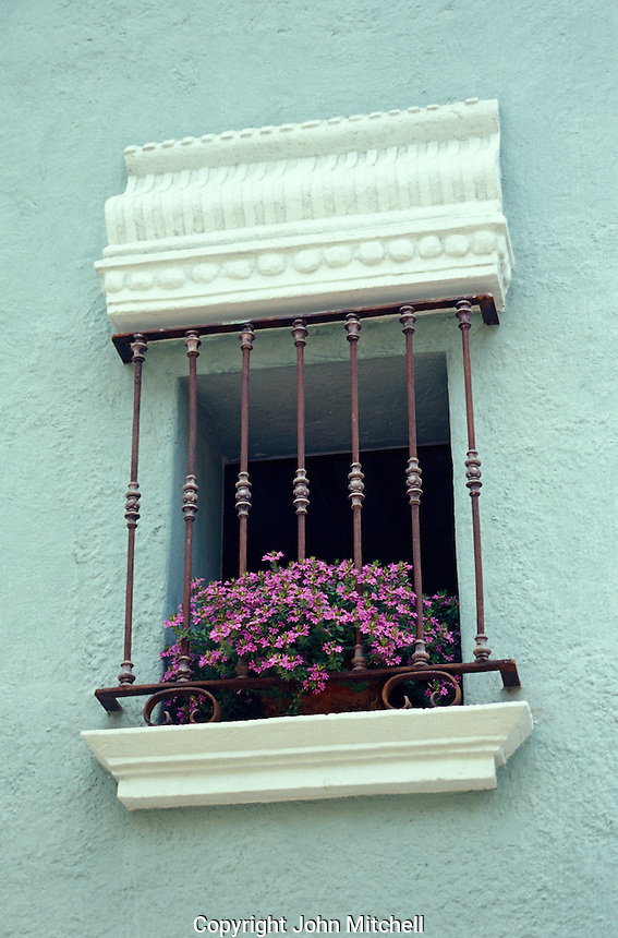 Flowers on a window sill in Cuernavaca, Morelos, Mexico