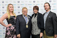 from left, Katie Rex, Mayor Ray Wallace, Denise Anglesey and Thomas Buchanan, New Zealand Eco Fashion Exposed Opening Function at 151 High Street, Lower Hutt, New Zealand on Wednesday 23 July 2014. <br /> Photo by Masanori Udagawa. <br /> www.photowellington.photoshelter.com.