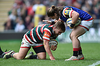 Harry Thacker of Leicester Tigers congratulates team-mate Jack Roberts on his second half try. Aviva Premiership match, between Leicester Tigers and Sale Sharks on April 29, 2017 at Welford Road in Leicester, England. Photo by: Patrick Khachfe / JMP