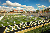 Sports Action Photography - Charlotte 49ers NCAA college football game between the University of North Carolina at Charlotte and Johnson C. Smith University  in Charlotte, N.C., Saturday, September 6, 2014.  Charlotte went on to beat JCSU 56-0 at Jerry Richardson Stadium in front 15,000 fans.<br /> <br /> Photo by: PatrickSchneiderPhoto.com