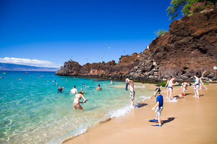 Snorkeling is a popular activity at Black Rock, located on Ka'anapali Beach in West Maui
