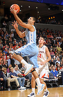 Jan. 8, 2011; Charlottesville, VA, USA; North Carolina Tar Heels guard Kendall Marshall (5) shoots the ball in front of Virginia Cavaliers guard Joe Harris (12)  during the game at the John Paul Jones Arena. Mandatory Credit: Andrew Shurtleff
