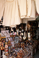 Seashell souvenirs, handicrafts, and white cotton shirts for sale in the city of Veracruz, Mexico