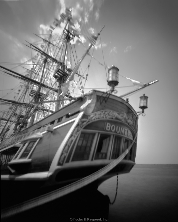 The replica ship, H.M.S. Bounty, used in the movie, sits at the dock in Cleveland, Ohio, during the Tall ships festival.