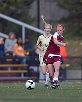 Florida State midfielder Tori Huster (10) passes the ball. Florida State University defeated Boston College, 1-0, at Newton Soccer Field, Newton, MA on October 31, 2010.