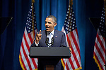 President Barack Obama shows 'Hook 'em Horns' during his speech at a campaign stop at the Austin City Limits Moody Theater in Austin, Texas.