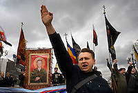 "Russian Neo-Nazis chant ""sieg heil"" in Moscow during a demonstration to celebrate Hitlerís birthday. Russia is experiencing a surge of extremism, sometimes resulting in violent attacks on foreigners. © Justin Jin"