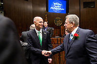 TALLAHASSEE, FLA. 3/4/14-Gov. Rick Scott, left, is greeted by Senate President Don Gaetz, R-Niceville, as he visits the Senate during the opening day of the legislative session, March 4, 2014 at the Capitol in Tallahassee.<br /> <br /> COLIN HACKLEY PHOTO
