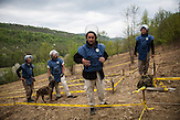 Skipovac Donji. Team members of Norwegian People's Aid (NPA) are getting ready for mine clearance operations.