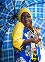 Girl with umbrella in Kigali, Rwanda