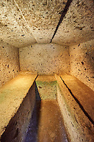 Interior of an Etruscan tomb known ad Tomba dei Vasi Greci due to the large amount of Greek vases found inside, 6th century BC, Necropoli della Banditaccia, Cerveteri, Italy. A UNESCO World Heritage Site