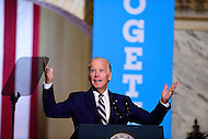 Philadelphia, PA - September 27, 2016: Vice President Joe Biden greets supporters in the balcony during a campaign stop to support Hillary Clinton's presidential campaign at Drexel University in Philadelphia, Pennsylvania, September 27, 2016.  (Photo by Don Baxter/Media Images International)