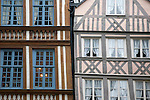 Tradition Building Facades in Rouen in Normandy, France