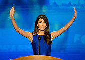 Eva Longoria makes remarks at the 2012 Democratic National Convention in Charlotte, North Carolina on Thursday, September 6, 2012.  .Credit: Ron Sachs / CNP.(RESTRICTION: NO New York or New Jersey Newspapers or newspapers within a 75 mile radius of New York City)