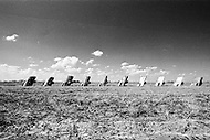 1974, Amarillo, Texas, USA --- Original site of Artist Stanley Marsh's Cadillac Ranch which set a row of old Cadillac cars in a field alongside a highway in Amarillo, Texas. It was created in 1974 by Chip Lord, Hudson Marquez and Doug Michels, who were a part of the art group Ant Farm. These images were shot in it's original location. It was moved 2 miles to the West in 1997, to a cow pasture along Interstate 40.   Located in: Amarillo. --- Image by © JP Laffont