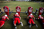 FRESNO, CA - AUGUST 11, 2014:   Fresno State's defensive line works their blocking sled during morning practice. CREDIT: Max Whittaker for The New York Times