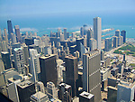View of Chicago from Sears Tower. John Hancock Center to the left with it´s two radio masts, the highest building to the right is Aon Center.