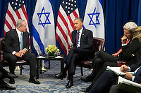 (L to R) Prime Minister of Israel Benjamin Netanyahu and  United States President Barack Obama meet during a bilateral meeting at the Lotte New York Palace Hotel, September 21, 2016 in New York City. Last week, Israel and the United States agreed to a $38 billion, 10-year aid package for Israel. Obama is expected to discuss the need for a &quot;two-state solution&quot; for the Israeli-Palestinian conflict. <br /> Credit: Drew Angerer / Pool via CNP /MediaPunch
