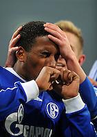 FUSSBALL   1. BUNDESLIGA   SAISON 2012/2013    18. SPIELTAG FC Schalke 04 - Hannover 96                           18.01.2013 Jefferson Farfan (FC Schalke 04)  bejubelt seinen Treffer zum 1:0