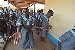 Nancy Ajok Majur, 12, leads a group of girl singers at the John Paul II School in Wau, South Sudan. The group sings songs focused on ending violence and empowering girls.