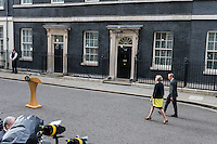 Prime Minister Theresa May arrives at No10 Downing Street with her husband Philip at the start of her premiership, London, England on July 13, 2016.<br /> CAP/JOR<br /> &copy;JOR/Capital Pictures /MediaPunch ***NORTH AND SOUTH AMERICAS ONLY***