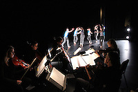 "Karin Stevens Dance performing ""Point of Departure"" with the Starry Night Chamber Orchestra at The Black Box Theatre at Edmonds Community College."