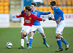St Johnstone Academy v Manchester United Academy....17.04.15   <br /> Callum Whelan holds off Jamie McKenzie<br /> Picture by Graeme Hart.<br /> Copyright Perthshire Picture Agency<br /> Tel: 01738 623350  Mobile: 07990 594431
