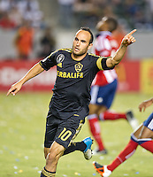CARSON, CA - July 21, 2012: LA Galaxy forward Landon Donovan (10) celebrating his goal during the LA Galaxy vs Chivas USA match at the Home Depot Center in Carson, California. Final score LA Galaxy 3, Chivas USA 1.