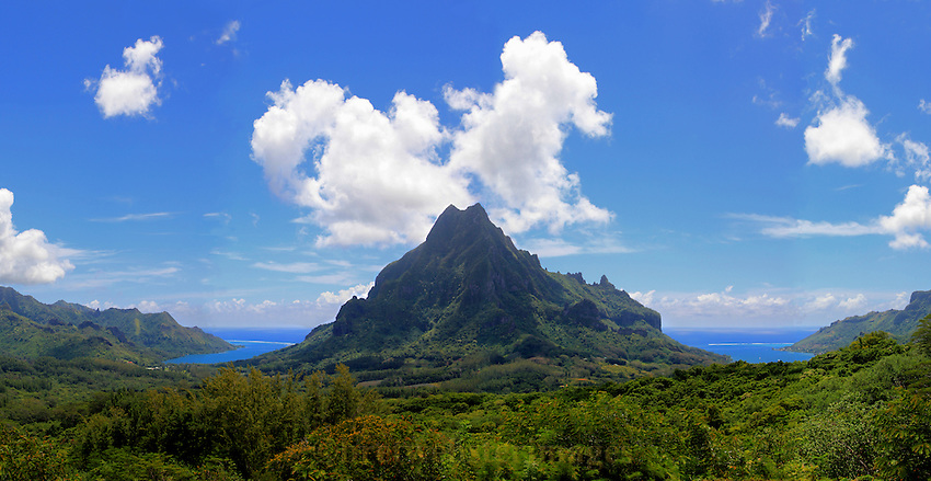 Mount Rotui on Moorea with Cooks Bay on the right and Opunohu Bay on the left.