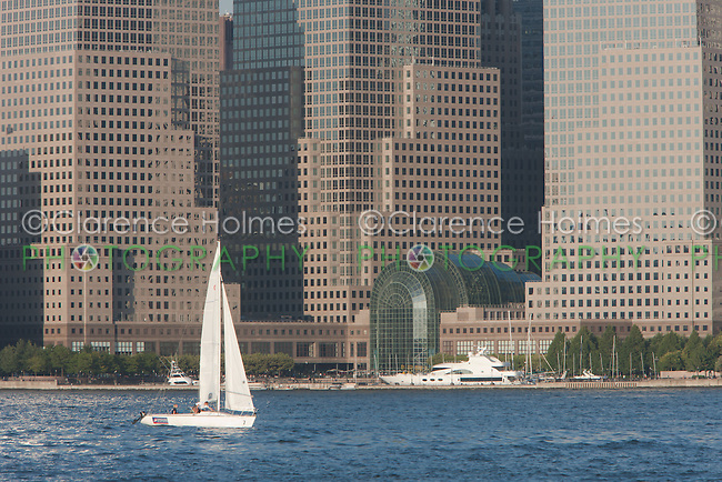 Sailboats on the Hudson River, with the buildings of the World Financial Center as a backdrop, from Liberty State Park, New Jersey