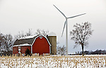 A collection of Barns that still can be seen while traveling the countryside in  the beautiful State of Wisconsin.<br /> Fond du Lac County- Barn and wind towers, County Road Y and County Road F.