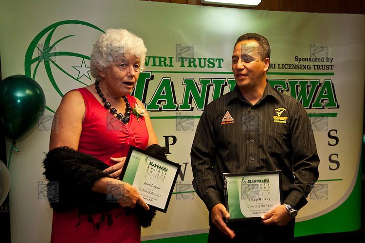 Coach of the Year finalists Jane Logan & Doug Murray. Inaugural Wiri Licensing Trust Manurewa Sports Awards held at the Weymouth Cosmopolitan Club on Sunday April 11th 2010.
