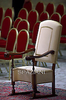 Papal Thrones;Pope Francis during his weekly general audience at the Paul VI hall at the Vatican, Wednesday. February 4, 2015