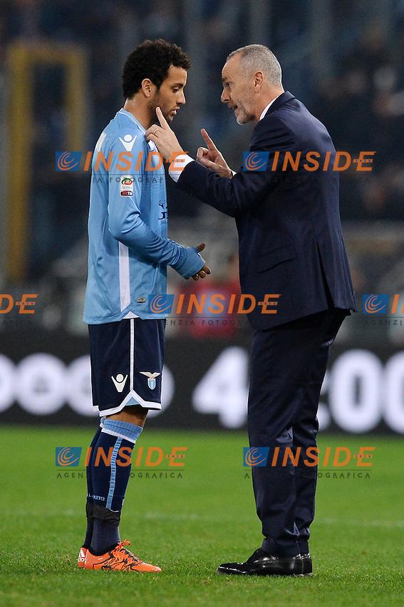 Felipe Anderson e Stefano Pioli, allenatore della Lazio.<br /> Roma 4-12-2015 Stadio Olimpico, Football Calcio 2015/2016 Serie A Lazio - Juventus. Foto Antonietta Baldassarre / Insidefoto