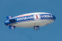 The Hangar 1 Vodka blimp flies above Santa Monica on Tuesday, January 24, 2012.