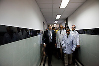 Doctors give Bill Gates (center), co-chair of the Bill and Melinda Gates Foundation (BMGF) a tour of the Lala Ram Swawrup (LRS) Institute of Tuberculosis and Respiratory Diseases in New Delhi, India on 24th March 2011.