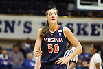 02 January 2012: Virginia's Chelsea Shine leaves the court bleeding from her mouth. The Duke University Blue Devils defeated the University of Virginia Cavaliers 77-66 at Cameron Indoor Stadium in Durham, North Carolina in an NCAA Division I Women's basketball game.