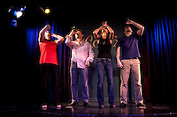 Comedians Sarah Siadat (L), Alia Tarraf (2L), Daoud Heidami (2R) and Nicholas Kattar (R) perform in the 6th Annual NY Arab-American Comedy Festival in New York, USA, 10 May 2009.