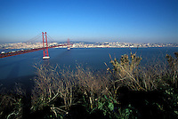 The 25 de Abril Bridge, inaugurated (as Ponte Salazar),Lisbon, Portugal<br />