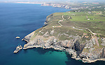 Aerial of St Agnes Head, St Agnes, Cornwall, UK
