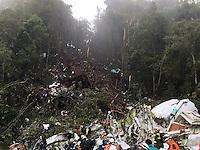 LA UNION -COLOMBIA-29-11-2016. Aspecto del sitio de la tragedia del avi&oacute;n de la compa&ntilde;ia Lamia Corporation de Bolivia que transportaba al equipo Chapecoense de Brasil y el cual perdieron la vida 76 personas y 6 sorevivientes. El siniestro ocurri&oacute; en el cerro El Gordo, municipio de La Uni&oacute;n Antioquia  / Aspect of the site of the tragedy of the airplane of the company Lamia Corporation of Bolivia that transported Chapecoense team. 76 people lost and 6 survivors. The airplane crash happened at El Gordo mountain in La Union, Antioquia. Photo: VizzorImage/ Policia Antioquia<br /> NOTA: THE IMAGE WAS PROVIDED BY ANTIOQUIA POLICE  PRESS SERVICE. NO SALES, NO MARKETING,  COMPULSORY CREDIT