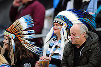 A general view of Exeter Chiefs supporters in the crowd. Aviva Premiership match, between Bath Rugby and Exeter Chiefs on December 31, 2016 at the Recreation Ground in Bath, England. Photo by: Patrick Khachfe / Onside Images