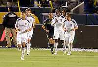 LA Galaxy team celebrate their second Edson Buddle goal late in the match. The LA Galaxy defeated Chivas USA 2-0 during the Super Clasico at Home Depot Center stadium in Carson, California Thursday evening April 1, 2010.  .