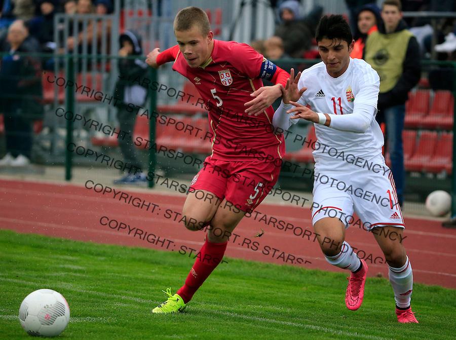Fudbal soccer friendly match<br /> Srbija U17 v Madjarska U17<br /> Jovan Vlalukin (L)<br /> Stara Pazova, 08.12.2015.<br /> foto: Srdjan Stevanovic/Starsportphoto &copy;